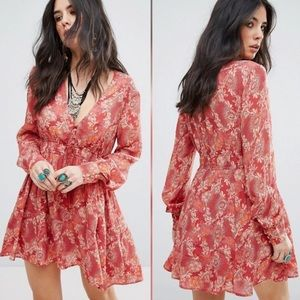 FREE PEOPLE paisley floral boho tassel tunic dress